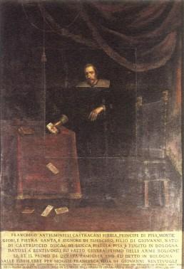 Prince Francesco Antelminelli Castracani Fibbia (1360-1419) with a deck of Tarot cards
