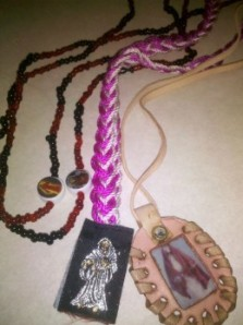 Santa Muerte Talismans and Scapular. Image copyright 2012 Winter Tempest Books. All rights reserved.