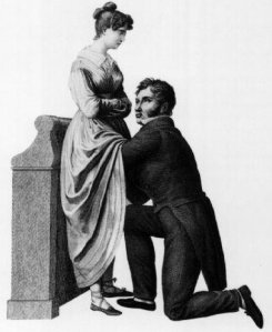 Victorian doctor with his hands on a women - this was ONCE considered improper